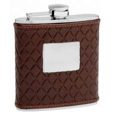 6oz Brown Leather Hip Flask with Quilted Pattern