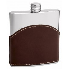 6oz Brown Leather Hip Flask