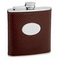 6oz Embossed Leather Flask with Snake Skin Pattern