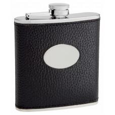 6oz Black Textured Leather (Cow Hide) Hip Flask