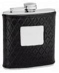 6oz Quilted Black Leather Flask
