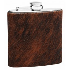 6oz Cowhide Hip Flask with Genuine Cow Fur