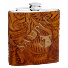 6oz Textured Brown Leather Hip Flask