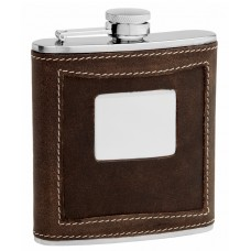 6oz 2 Tone Brown Distressed Leather Hip Flask