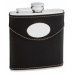 6oz Black Leather Hip Flask with Oval Engraving Area