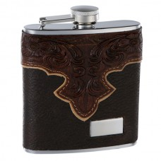 6oz Brown Leather Hip Flask with Classy Embossed Pattern