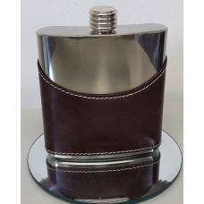 6oz Brown Leather Flask with Mirror Finish