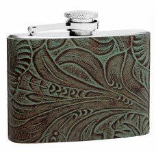 4oz Textured Genuine Leather Hip Flask