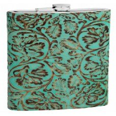 6oz Teal Tooled Textured Genuine Leather Hip Flask