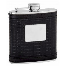 6oz Black Leather Hip Flask with Sophisticated Pattern