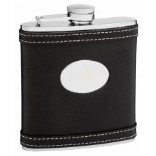 6oz Black Leather Hip Flask with White Accent Stitching