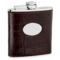 6oz Brown Leather Eel Skin Pattern Hip Flask