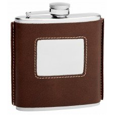 6oz Brown Leather Flask with Square Engrave Area