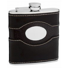 6oz Black Leather Hip Flask with Monogram Area