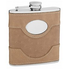 6oz Suede Leather Flask with Personalization Area