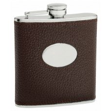 6oz Brown Textured Leather (Cow Hide) Hip Flask