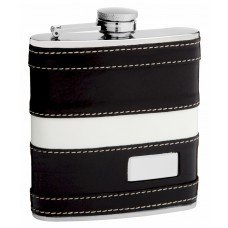 6oz Genuine Leather Hip Flask with Monogram Area