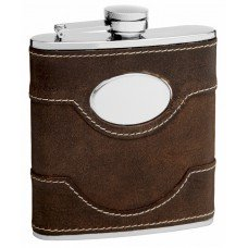 6oz Brown Leather Hip Flask with Engraving Plate