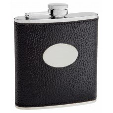 6oz Black Textured Leather (Cow Hide) Hip Flask