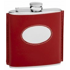 6oz Red Leather Hip Flask with Oval Engrave Area