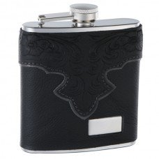6oz Genuine Leather Hip Flask with Classy Embossed Pattern