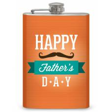 """8oz """"Father's Day"""" Flask with mustache"""