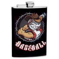 8oz Baseball Theme Hip Flask