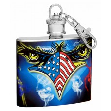 2oz Key Chain Flask with American Flag and Eagle