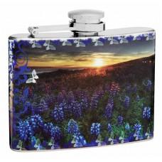 4oz Blue Bonnet and Butterflies Hip Flask