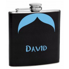 6oz Blue Mustache Hip Flask