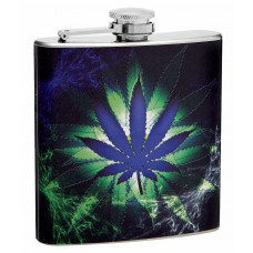 6oz Blue Glowing Pot Leaf Hip Flask