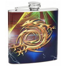 6oz Golden Dragon Hip Flask