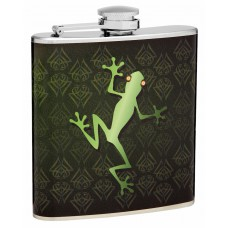 6oz Hip Flask with Green Lizard