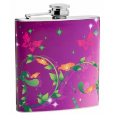 6oz Butterflies and Floral Pattern Hip Flask
