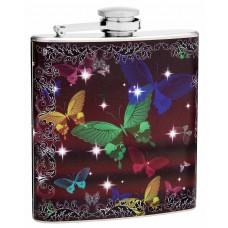 """6oz """"Rainbow Butterflies"""" Hip Flask"""