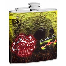 6oz Skull Flask with Skeleton