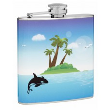 6oz Killer Whale and Tropical Island Hip Flask