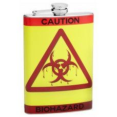 8oz Caution-Biohazard Hip Flask