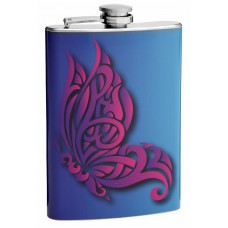 Pink Butterfly 8oz Hip Flask