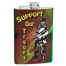 """Support Our Troops"" 8oz Stainless Steel Hip Flask"