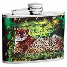 4oz Trippy Mystical Leopard Flasks with Cycledelic Background