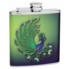 6oz Colorful Peacock Hip Flask