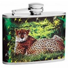 4oz Trippy Mystical Leopard Flasks with Cycledelic Background