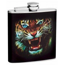 "6oz ""Blue Eye Tiger"" Hip Flask"
