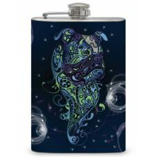 8oz Bulldog Art Print Flask