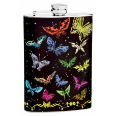 8oz Colorful Butterflies Hip Flask