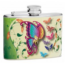 4oz Hip Flask with Butterflies