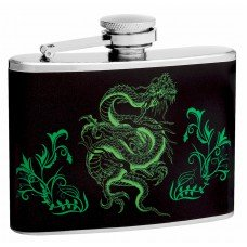 4oz Hip Flask with Neon Green Dragon Design