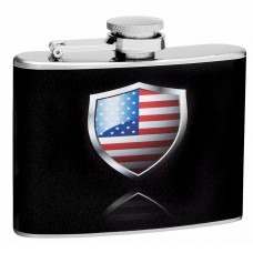 4oz American Flag in Shield Shape Hip Flask