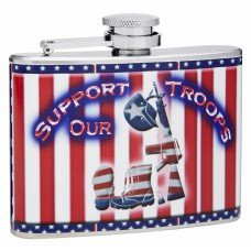 4oz Stars and Strips Support Our Troops Theme Flask